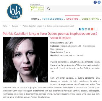 Evento  Patrícia Castellani lança o livro  Outros poemas inspirados em você   BH Eventos