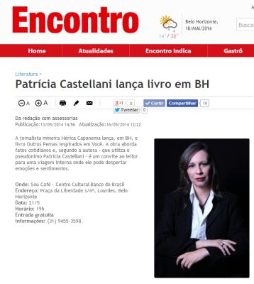 Patrícia Castellani lança livro em BH   Encontro