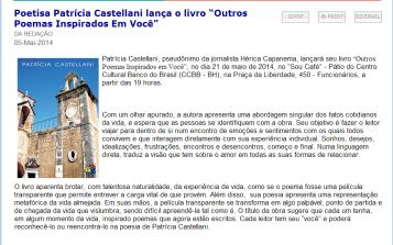 """PQN   O Portal da Comunicação   Poetisa Patrícia Castellani lança o livro """"Outros Poemas Inspirados Em Você"""""""